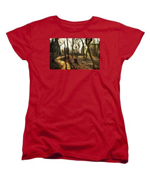 Women's T-Shirt (Standard Cut) featuring the digital art The Frightening Forest by Gun Legler