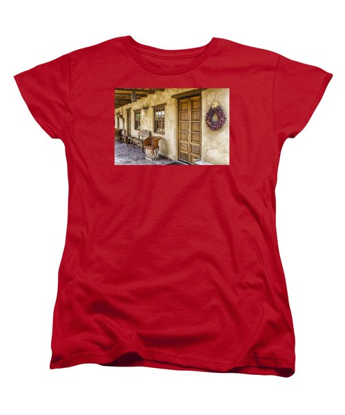 Women's T-Shirt (Standard Cut) featuring the tapestry - textile The Gage Hotel by Kathy Adams Clark