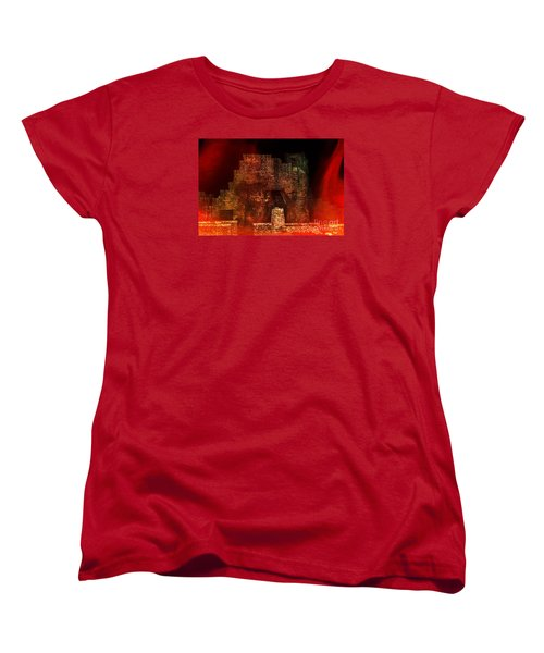 Women's T-Shirt (Standard Cut) featuring the photograph The Ghostly Ruins Of An Elizabethan Fireplace by Linsey Williams