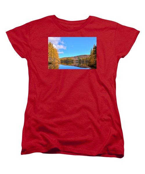 Women's T-Shirt (Standard Cut) featuring the photograph The Golden Tamaracks Of Woodcraft Camp by David Patterson