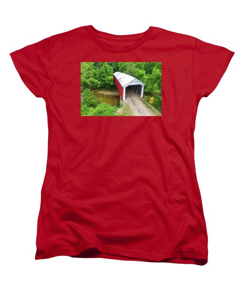 Women's T-Shirt (Standard Cut) featuring the photograph The Mcallister Covered Bridge - Ariel View by Harold Rau