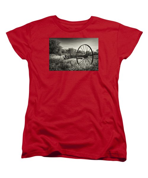 The Old Mower 2 In Black And White Women's T-Shirt (Standard Cut) by Endre Balogh