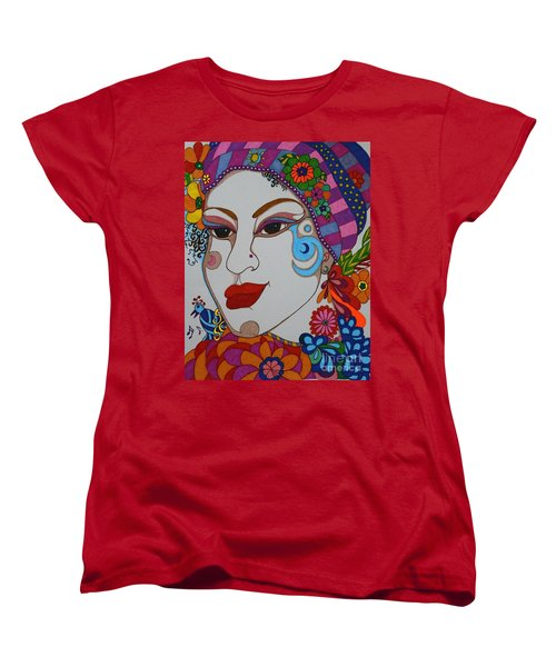 Women's T-Shirt (Standard Cut) featuring the painting The Opera Singer by Alison Caltrider