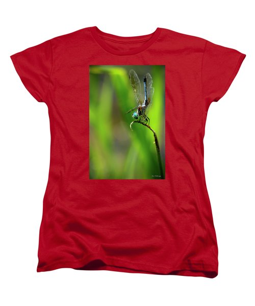 Women's T-Shirt (Standard Cut) featuring the photograph The Performer Dragonfly Art by Reid Callaway
