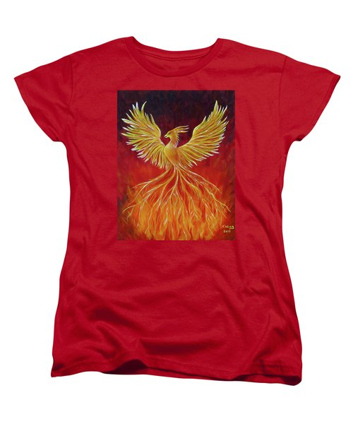 Women's T-Shirt (Standard Cut) featuring the painting The Phoenix by Teresa Wing