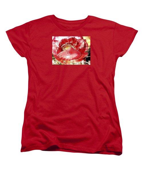 The Red Flower Blooms Women's T-Shirt (Standard Cut)