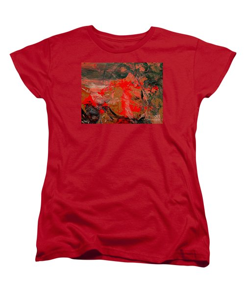 Women's T-Shirt (Standard Cut) featuring the painting The Red Garden by Nancy Kane Chapman