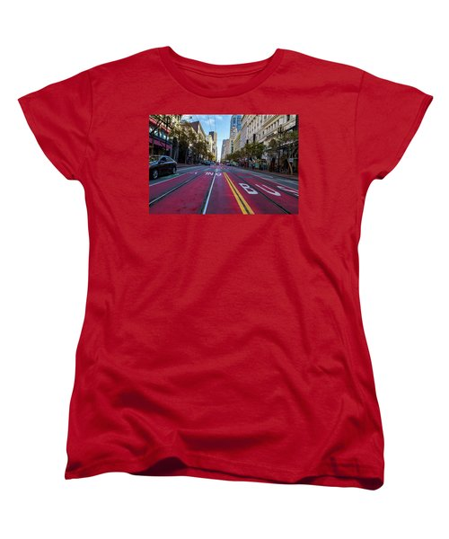 Women's T-Shirt (Standard Cut) featuring the photograph The Red Path by Darcy Michaelchuk