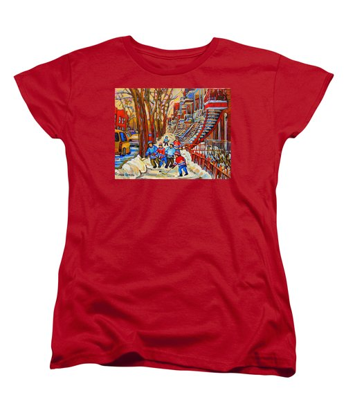The Red Staircase Painting By Montreal Streetscene Artist Carole Spandau Women's T-Shirt (Standard Cut) by Carole Spandau