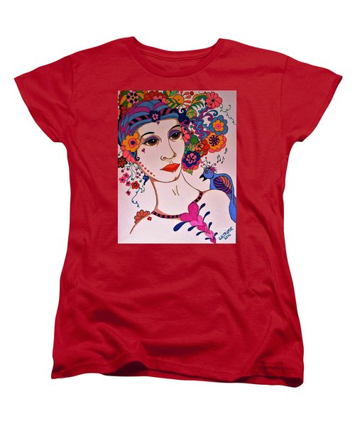Women's T-Shirt (Standard Cut) featuring the painting The Songbird by Alison Caltrider