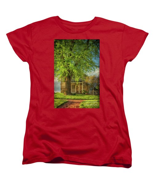 The Stone Cottage On A Spring Evening Women's T-Shirt (Standard Cut) by Lois Bryan