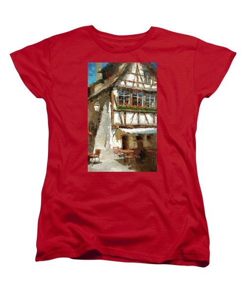 Women's T-Shirt (Standard Cut) featuring the painting The Streets Of Strasbourg by Dmitry Spiros