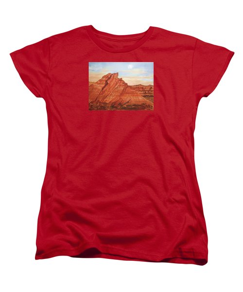 Women's T-Shirt (Standard Cut) featuring the painting The Teepees by Ellen Levinson