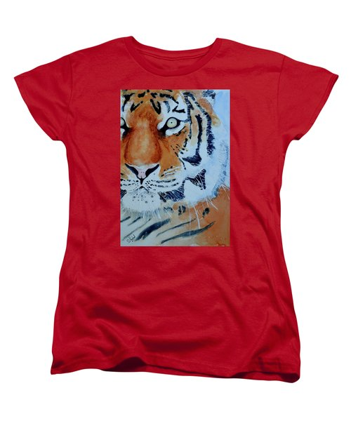 Women's T-Shirt (Standard Cut) featuring the painting The Tiger by Steven Ponsford