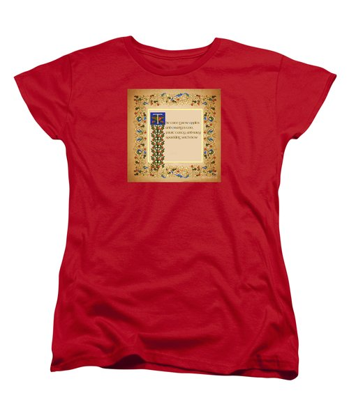 Women's T-Shirt (Standard Cut) featuring the digital art The Tree Grew Apples Square by Donna Huntriss