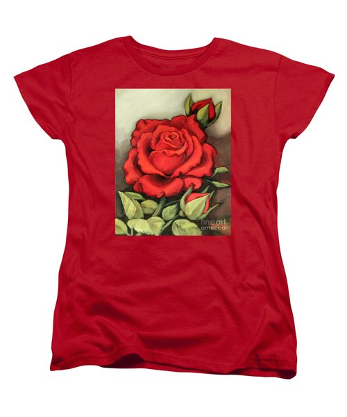 Women's T-Shirt (Standard Cut) featuring the painting The Very Red Rose by Inese Poga