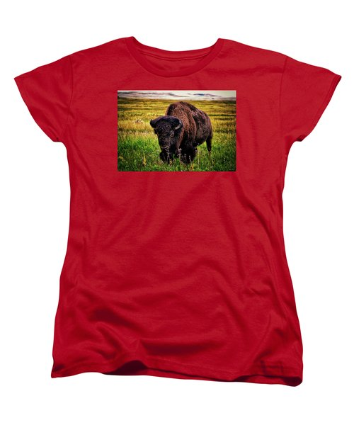 Women's T-Shirt (Standard Cut) featuring the photograph Theodore Roosevelt National Park 009 - Buffalo by George Bostian