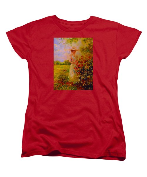 Women's T-Shirt (Standard Cut) featuring the painting This Is A Good View by Emery Franklin