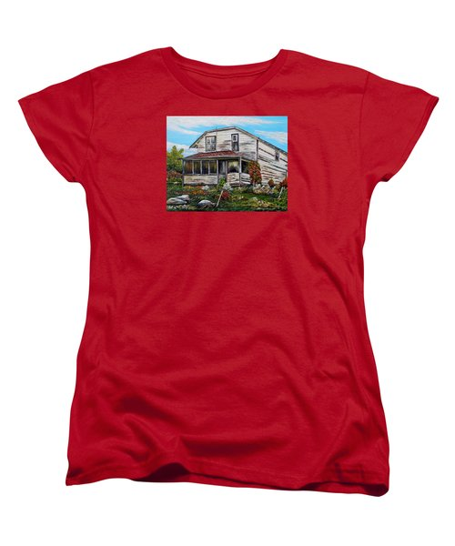 Women's T-Shirt (Standard Cut) featuring the painting This Old House 2 by Marilyn  McNish