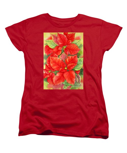 Women's T-Shirt (Standard Cut) featuring the painting This Year's Poinsettia 1 by Inese Poga