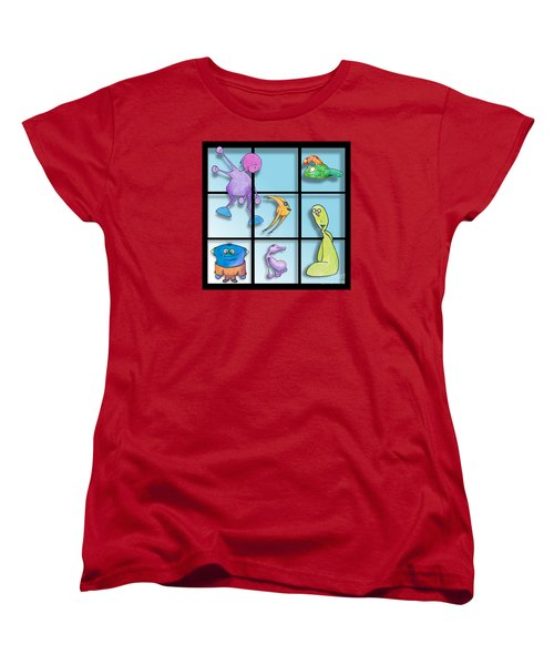 Women's T-Shirt (Standard Cut) featuring the drawing Three By Whee by Uncle J's Monsters