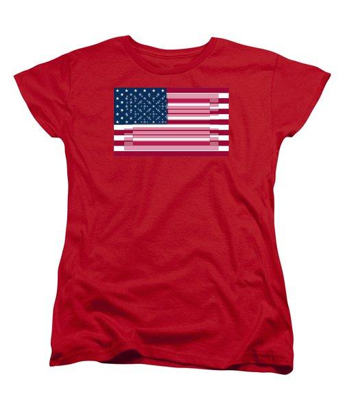 Three Layered Flag Women's T-Shirt (Standard Cut) by David Bridburg