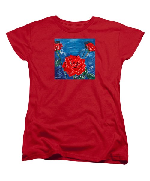 Three Red Roses Four Leaves Women's T-Shirt (Standard Cut) by Valerie Ornstein