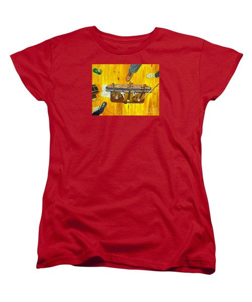 Women's T-Shirt (Standard Cut) featuring the painting Three Violins by Jock McGregor