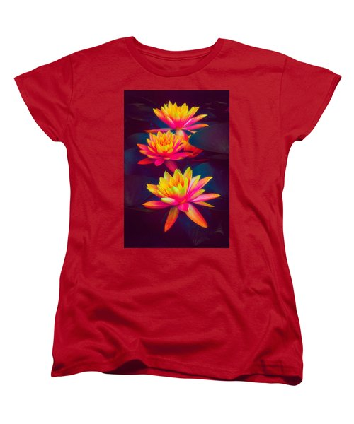 Women's T-Shirt (Standard Cut) featuring the photograph Three Waterlilies by Chris Lord