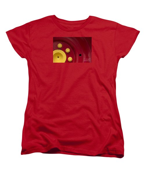 Three Yellow Nuts On A Red Wheel Women's T-Shirt (Standard Cut) by Wendy Wilton