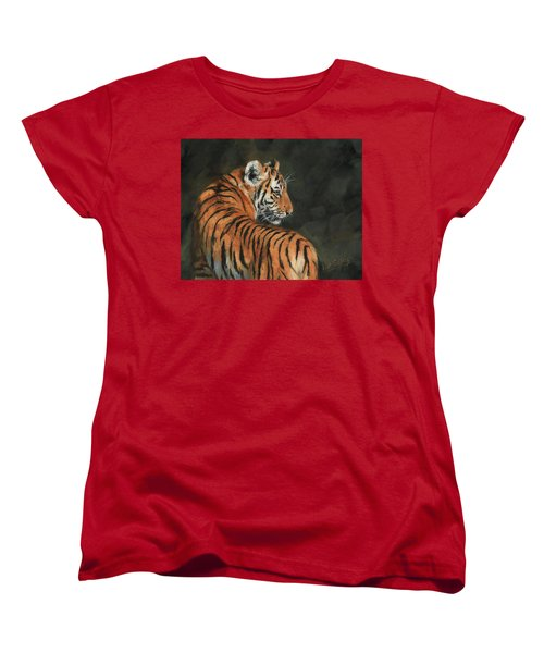 Women's T-Shirt (Standard Cut) featuring the painting Tiger At Night by David Stribbling