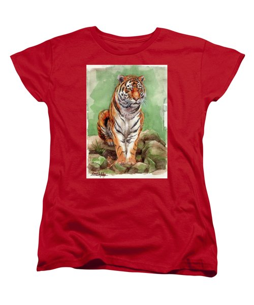 Women's T-Shirt (Standard Cut) featuring the painting Tiger Watercolor Sketch by Margaret Stockdale