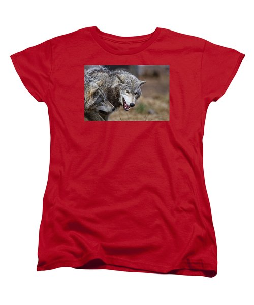 Women's T-Shirt (Standard Cut) featuring the photograph Timber Wolves by Michael Cummings