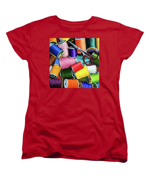 Women's T-Shirt (Standard Cut) featuring the painting Time To Sew - Colorful Threads by Linda Apple