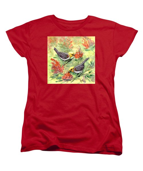 Women's T-Shirt (Standard Cut) featuring the painting Tiny Verdin In Honeysuckle by Marilyn Smith