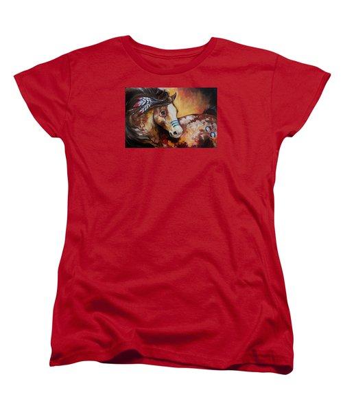 Tobiano Indian War Horse Women's T-Shirt (Standard Cut) by Marcia Baldwin