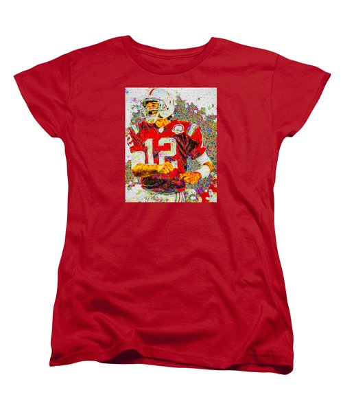 Tom Brady New England Patriots Football Nfl Painting Digitally Women's T-Shirt (Standard Cut) by David Haskett