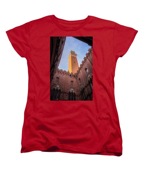 Women's T-Shirt (Standard Cut) featuring the photograph Torre Del Mangia Siena Italy by Joan Carroll
