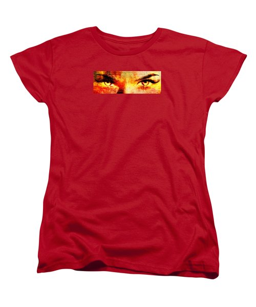 Women's T-Shirt (Standard Cut) featuring the digital art Torrid Eyes by Andrea Barbieri