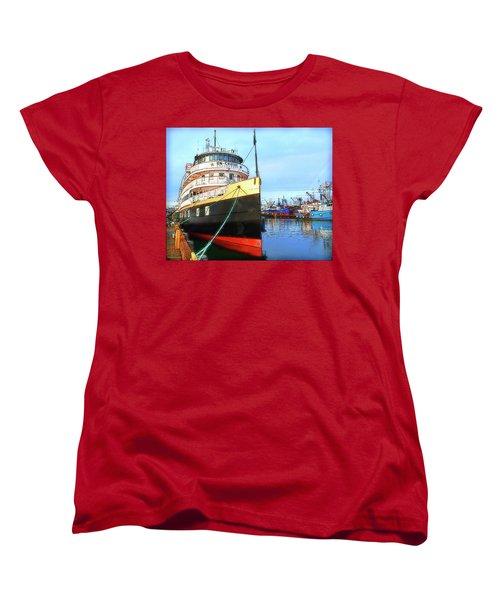 Tour Boat At Dock Women's T-Shirt (Standard Cut) by Tobeimean Peter