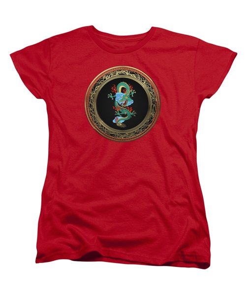 Treasure Trove - Turquoise Dragon Over Red Velvet Women's T-Shirt (Standard Cut) by Serge Averbukh