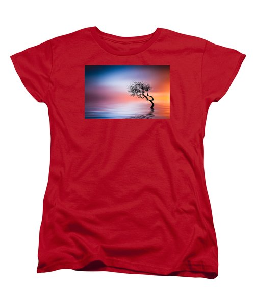Tree At Lake Women's T-Shirt (Standard Cut) by Bess Hamiti