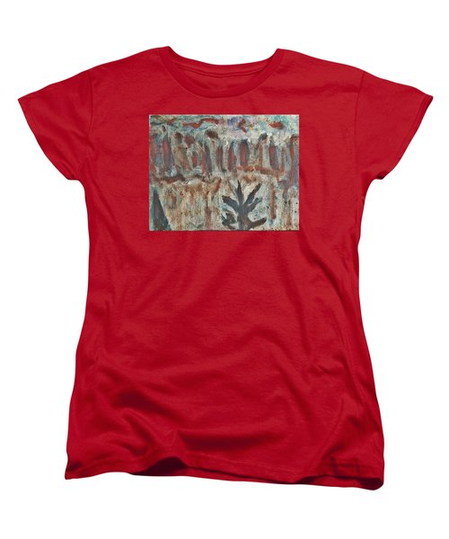 Women's T-Shirt (Standard Cut) featuring the painting Tree Facing Frozen Lake With Roiling Storm Clouds Rolling In From The Mountain Range Winter With Fal by MendyZ