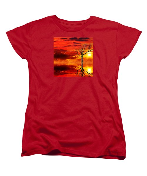 Women's T-Shirt (Standard Cut) featuring the mixed media Tree Of Destruction by Gabriella Weninger - David