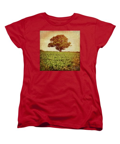 Women's T-Shirt (Standard Cut) featuring the photograph Tree On Edge Of Field by Lyn Randle