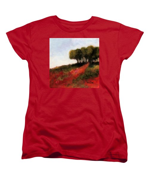Trees On The Hill Women's T-Shirt (Standard Cut) by Marti Green