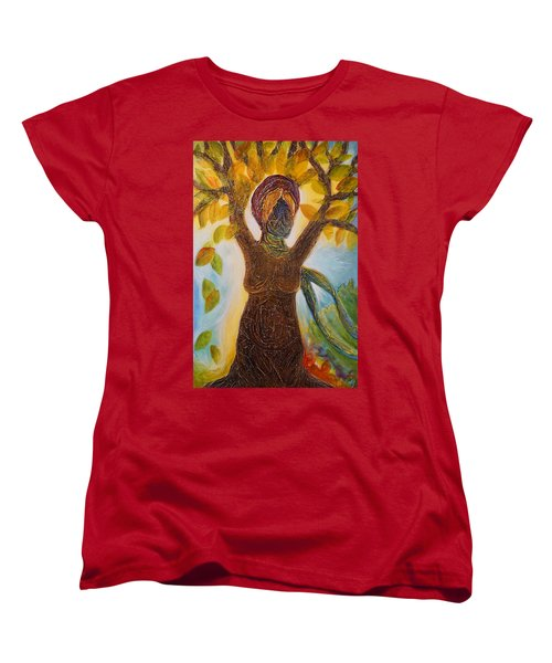 Tree Woman Women's T-Shirt (Standard Cut) by Theresa Marie Johnson