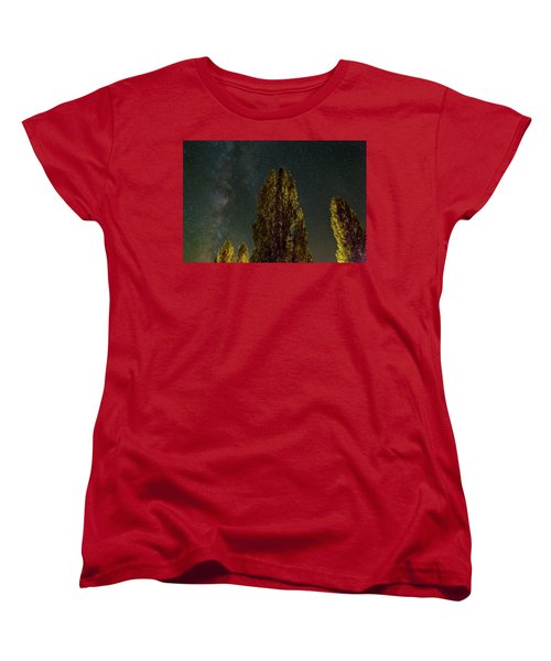 Trees Under The Milky Way On A Starry Night Women's T-Shirt (Standard Fit)