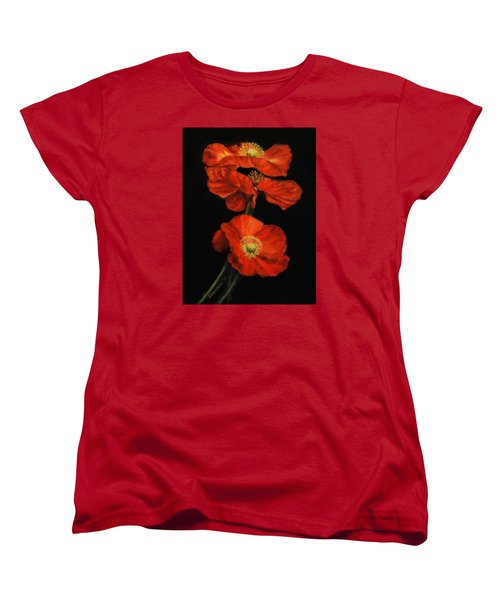 Women's T-Shirt (Standard Cut) featuring the painting Poppy Trio by Sandra Nardone