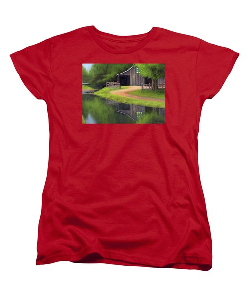 Women's T-Shirt (Standard Cut) featuring the painting Triple L Ranch  by Janet King